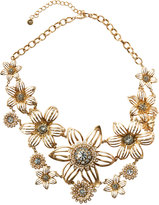 Lydell NYC Golden Crystal & Pearly Flower Statement Bib Necklace