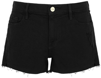 Frame Le Cutoff black stretch-denim shorts