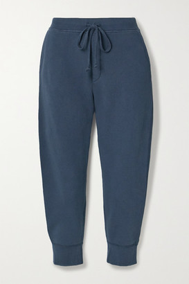 Nili Lotan Nolan Cropped Cotton-jersey Track Pants - Navy