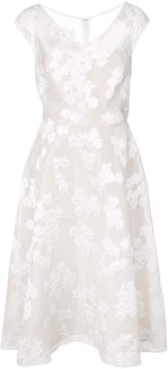 Lela Rose floral embroidered flared dress