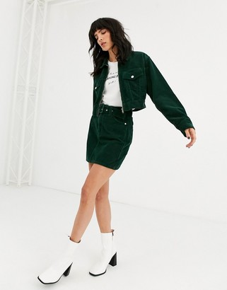 Topshop cord jacket with zip through in green