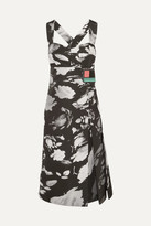 Prada Wrap-effect Printed Satin-twill Dress - Black
