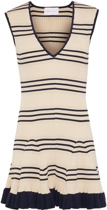 Alice McCall Frenchie Striped Metallic Ribbed-knit Mini Dress