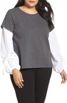Vince Camuto Plus Size Women's Bubble Tie Sleeve Mix Media Pullover