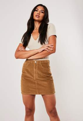 Missguided Tan Co Ord Jumbo Cord Mini Skirt
