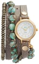 La Mer Women's Stone & Leather Wrap Strap Watch, 35Mm