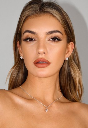 Missguided Silver Look Cubic Zirconia Earrings And Necklace Gift Set