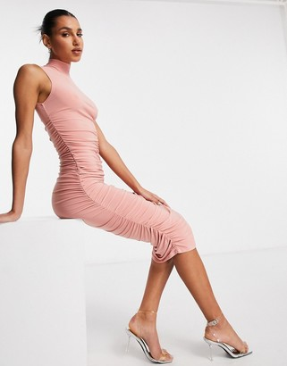 Club L London high neck body-conscious midaxi dress in dusky pink