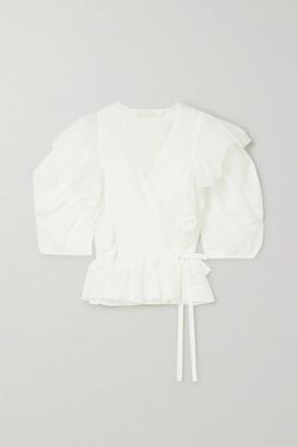 Chloé Ruffled Ramie Wrap Blouse - Ivory