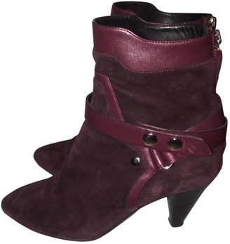 Isabel Marant Burgundy Suede Ankle boots