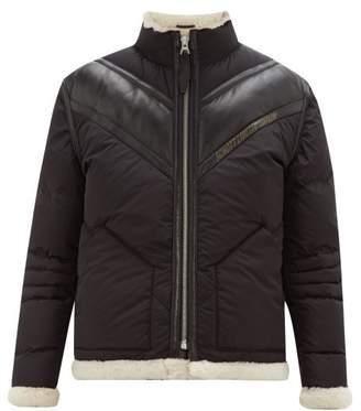 Schott Shearling-lined Technical Down-filled Jacket - Mens - Black