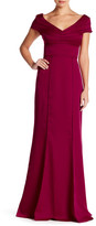 Adrianna Papell Cap Sleeve Crepe Gown
