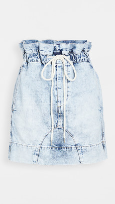 Bassike Motley Denim Paperbag Skirt
