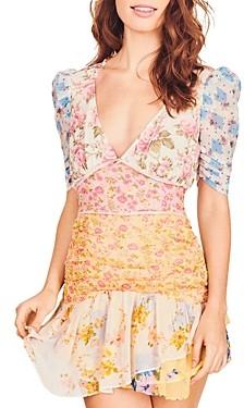 LoveShackFancy Arlo Silk Mixed Print Dress
