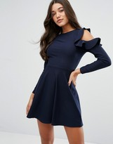 Lipsy Skater Dress With Frill Sleeve