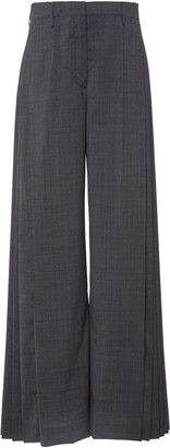 Prada Pleated Checked Wide-Leg Pants