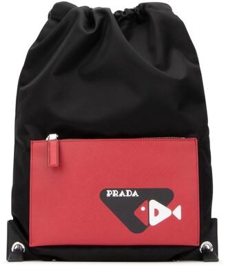 Prada Pocket Motif Drawstring Backpack