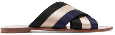 Diane von Furstenberg Striped Canvas Slides - Black