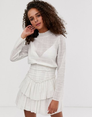 ASOS DESIGN high neck shirred waist mini dress in texture in ivory