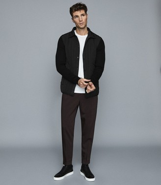 Reiss MARTINSON QUILTED JACKET WITH CONTRAST SLEEVES Black