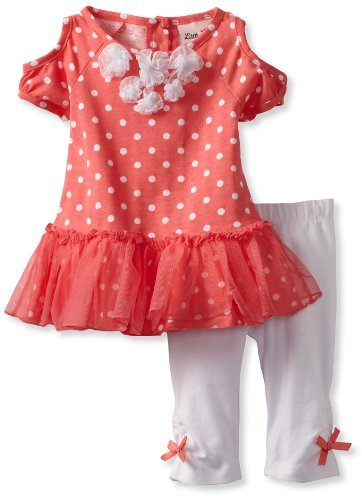 Little Lass Baby-Girls Infant 2 Piece Capri Set with Roses and Dots
