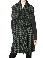 Jacquard Houndstooth Knit Coat