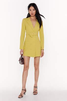 Nasty Gal Womens Linen Belted Blazer Dress - Green - 8