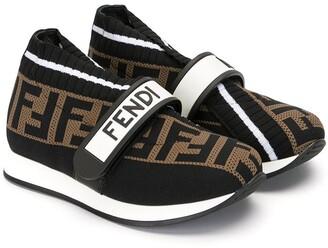 Fendi Kids Fendi Love touch strap sneakers