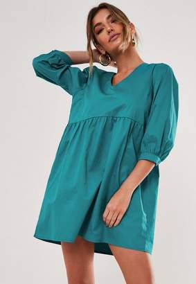 Missguided Teal Plunge Cotton Smock Dress