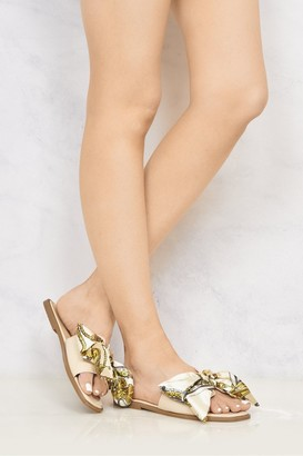 Miss Diva Paris Chain Print Silk Bow Open Toe Flat Sliders in Nude