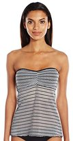 Anne Cole Women's Crochet Bandeau Strapless Swimsuit Tankini Top