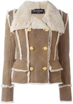 Balmain double breasted shearling coat - women - Lamb Skin - 40