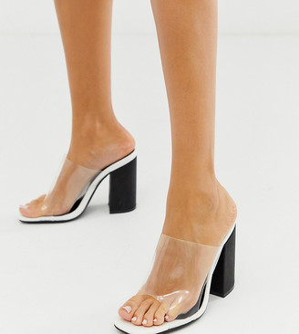 Public Desire Exclusive Scarlette square toe Block Heeled sandals-White