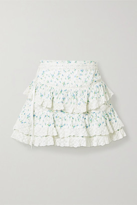 LoveShackFancy Bara Crochet-trimmed Tiered Floral-print Cotton-voile Mini Skirt - Sky blue