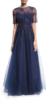 Rickie Freeman For Teri Jon Beaded Lace & Tulle Gown, Navy