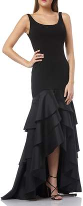 Carmen Marc Valvo Tiered High/Low Crepe Gown