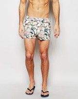 Asos Swim Shorts With Tropical Floral Print In Short Length
