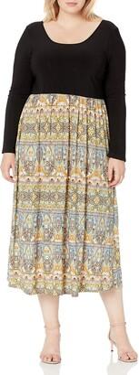 Star Vixen Women's Plus Size Long Sleeve Skirt Maxi Dress
