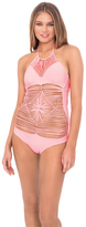 Luli Fama Heart Of A Hippie Weave One Piece in Pink Sunsets (L478700)