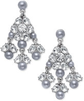 Charter Club Silver-Tone Pave & Gray Imitation Pearl Chandelier Earrings, Only at Macy's