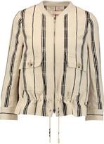 Tory Burch Debbie striped slub silk-blend jacket