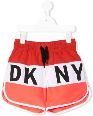 DKNY Striped Logo Swim Shorts