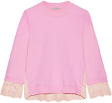 Clu Broderie Anglaise-paneled Cotton-jersey Sweatshirt - Baby pink