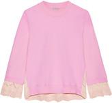 Clu Broderie Anglaise-paneled Cotton-jersey Sweatshirt - small