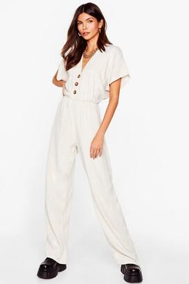 Nasty Gal Womens onesie, body/bodysuit is All It Takes Linen Jumpsuit - Beige - 8, Beige