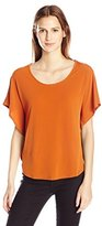 NY Collection Women's Short Sleeve Extented Shoulder Poncho Pullover with Gold Grommets At Back