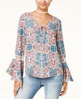 Hippie Rose Juniors' Printed Crochet Bell-Sleeve Top