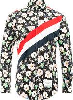 Thom Browne diagonal stripe floral print shirt - men - Cotton - 0