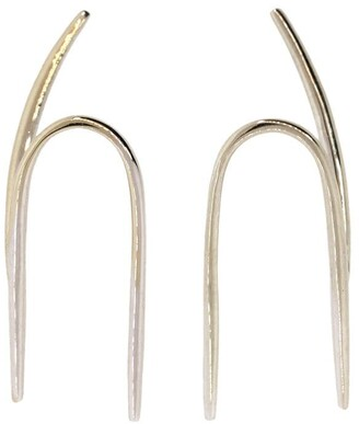KatKim 18kt white gold Wishbone ear hooks
