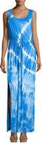 Neiman Marcus Drawstring Tie-Dye Sleeveless Maxi Dress, Cobalt